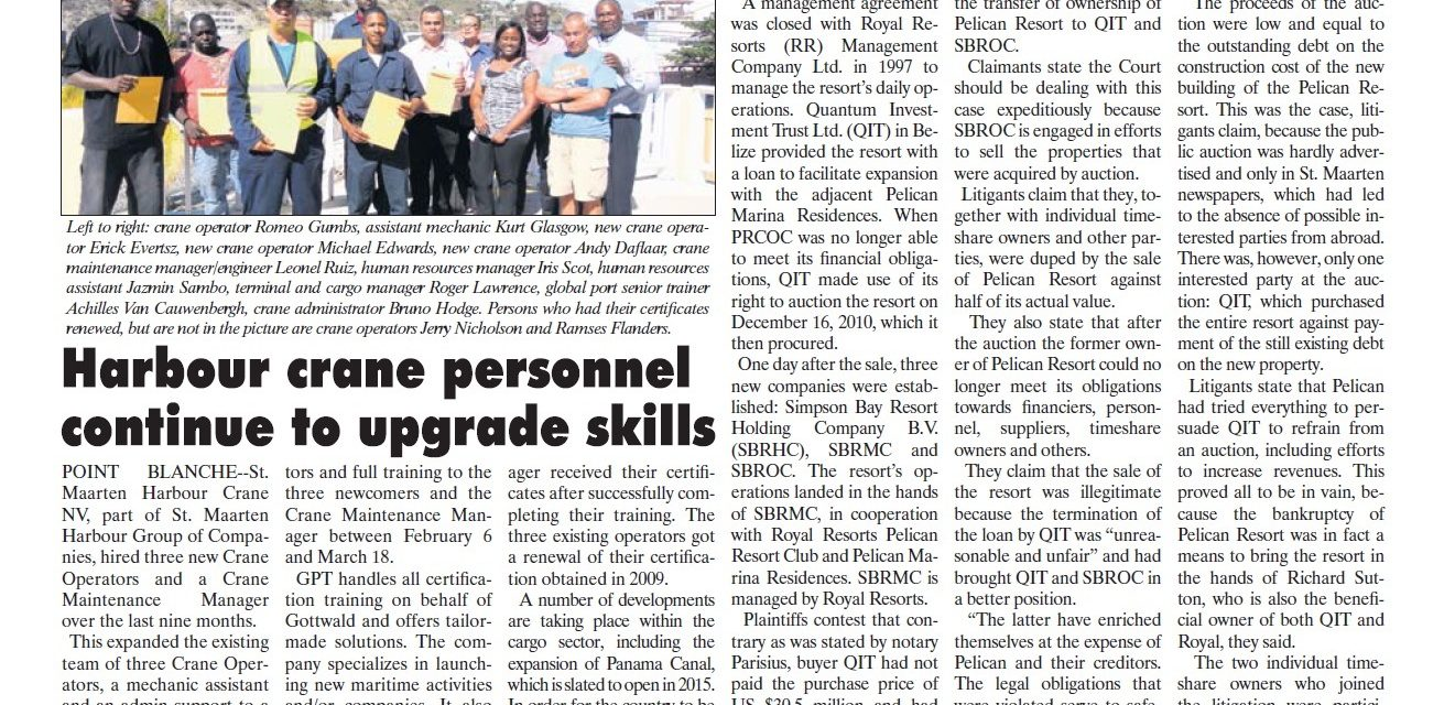 Harbour Crane personnel continue to upgrade skills